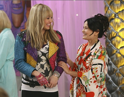 Student, Romi Dames, seen here with Hanna Montana co-star Miley Cyrus Photo