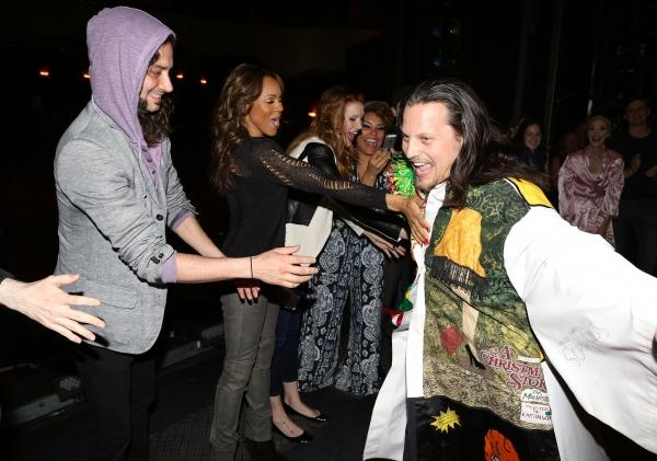 Jason Wooten with Constantine Maroulis, Deborah Cox, Courtney Markowitz & Emmy Raver-Lampman with cast