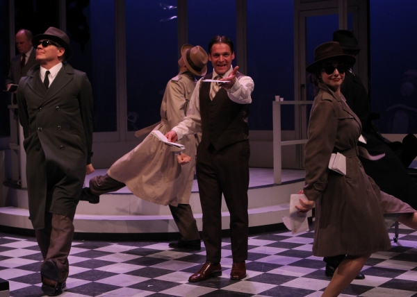 F. Scott Fitzgerald (Bradley Beahen) struggles with paying the bills demanded from the many collectors (left to right: Joel Liestman, James Kennedy, and Emily Scinto).