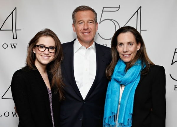 Actress Allison Williams poses with her parents news anchor BrIan Williams and radio host producer Jane Stoddard Williams