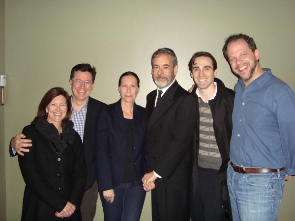 Evie Clobert, Stephen Colbert with cast members: Ilana Levine, Mark Nelson, Ari Brand, and playwright Aaron Posner