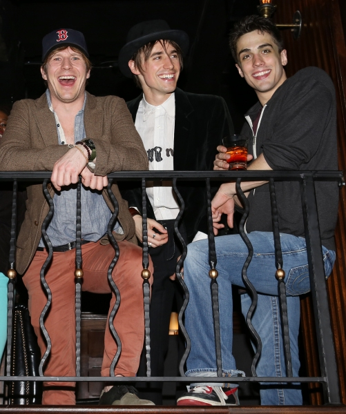 Reeve Carney with the cast members Brett Thiele & Christopher Tierney of Broadway''s ''Spider-Man''