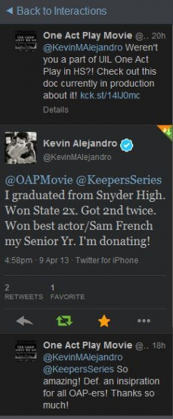 Kevin Alejandro, known for his role as Nate Moretta on TV's SOUTHLAND shows his support.