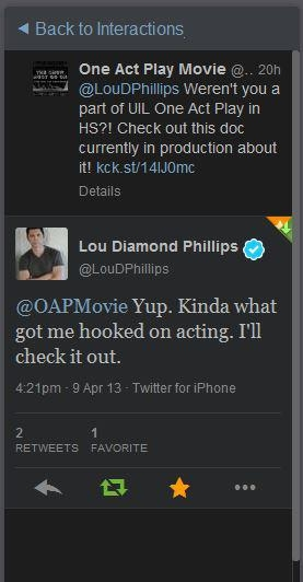 Lou Diamond Phillips, best known for his portrayal of Ritchie Valens in LA BAMBA shows his support.