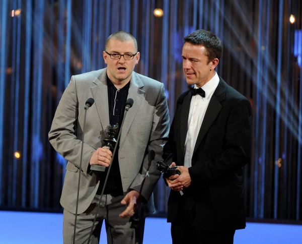Ian Dickinson and Adrian Sutton win Best Sound Design for The Curious Incident of the Dog in the Night Time