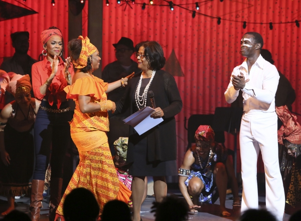 Cast member Michelle Williams, Yeni Kuti, Fela's oldest daughter, Councilwoman Jan Perry and cast member Adesola Osakalumi