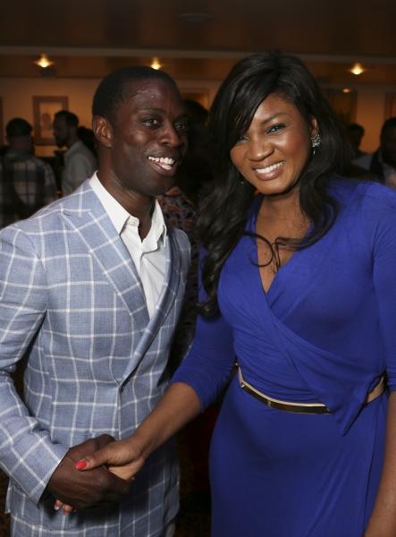Cast member Adesola Osakalumi and Omotola Jalade Ekehinde