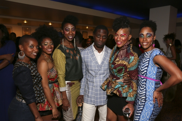Former cast member Aimee Graham Wodobode poses with cast members India McGee, Lauren De Veaux, Adesola Osakalumi, Oneika Phillips and Kafi Pierre