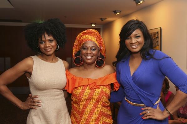 Actress Kimberly Elise, Yeni Kuti, Fela's oldest daughter, and actress Omotola Jalade Ekehinde