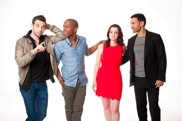 Matt Sax, Leslie Odom Jr., Jennifer Damiano, and Haaz Sleiman