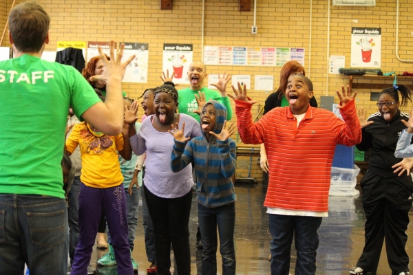 Aaron Gaines leads a group acting exercise with the students (also pictured: Amy Halldin, Chris Rustin & Mara Davi)