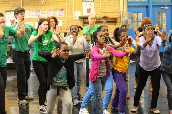 Learning Laban movement (Ryan Nicolls, Whit Baldwin, Laurie Hymes, Amy Halldin, Chris Rustin & Mara Davi pictured)