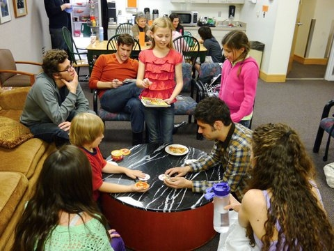 Young actors Zoe Heiden (Young Cosette), Abigail Scott (Young Eponine), Maggie Scott (Young Cosette), Zachary Brown (Gavroche) and Brigham Inkley (Gavroche) lead a tournament of Spot It in the Green Room