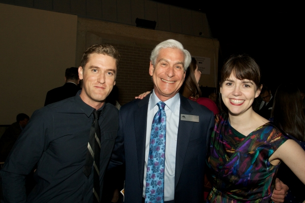 Cast members Scott Drummond and Emily Donahoe with board chair David Shiffrin (center)