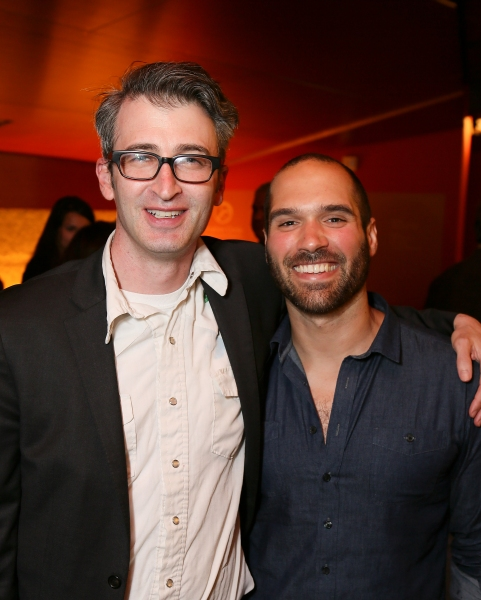 "From left, Director Daniel Aukin and Playwright Marco Ramirez pose during the party for the opening night performance of ""The Royale"" at Center Theatre Group's Kirk Douglas Theatre on Sunday, May 5, 2013, in Culver City, Calif. (Photo by Ryan Miller/Capt"