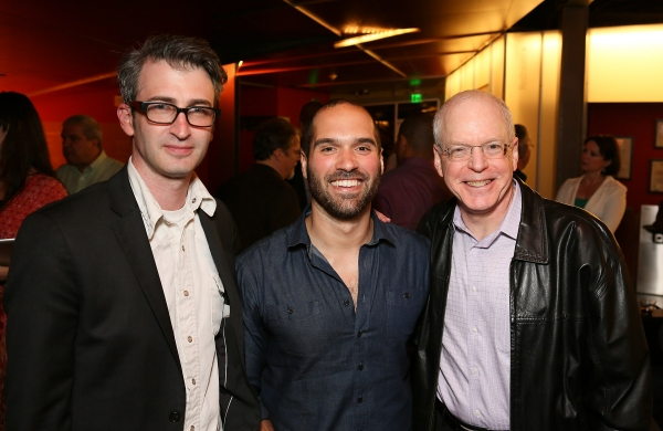 "From left, Director Daniel Aukin, Playwright Marco Ramirez and CTG Producing Director Douglas C. Baker pose during the party for the opening night performance of ""The Royale"" at Center Theatre Group's Kirk Douglas Theatre on Sunday, May 5, 2013, in Culve"