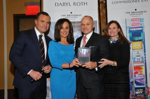 Broadway Association Chairman Cristyne Nicholas and Good Day New York''s Greg Kelly and Rosanna Scotto Present NYC Police Commissioner Ray Kelly with the Lifetime Achievement Award at the Broadway Association''s Annual Awards Celebration at the InterConti