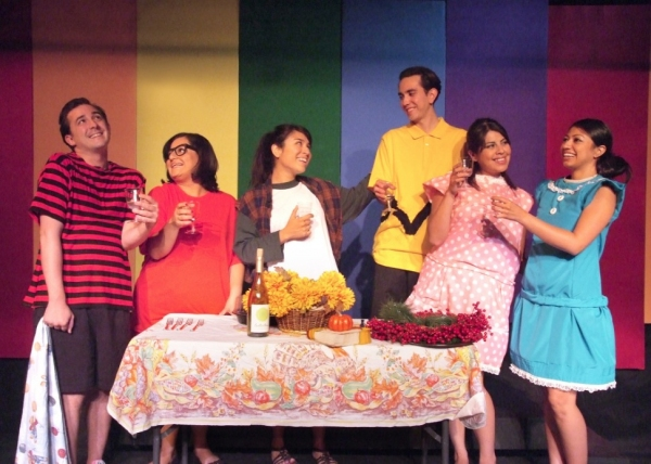 Henry Alberto (Linus), Miriam Peniche (Marcie), Evelyn Lorena (Peppermint Patty), Andrew Villarreal (Charlie Brown), Blanca M. Melchor (Sally) and Natalie Camunas (Lucy) in A CHARLIE BROWN THANKSGIVING: THE UNTOLD STORY by Natalie Camunas