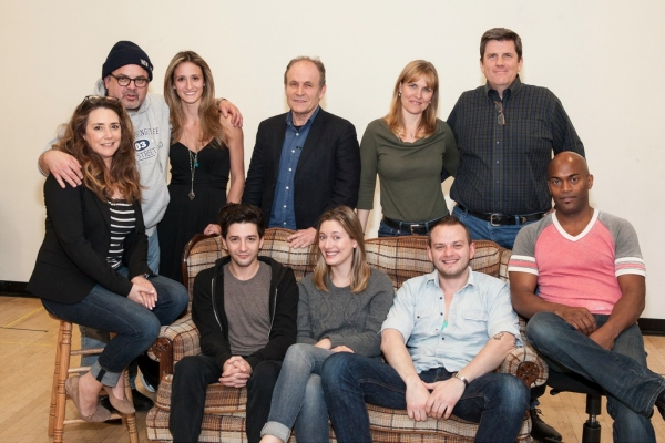 Seated: Talia Balsam, John Magaro, Zoe Perry, Luke Robertson and Andrew Stewart-Jones. Standing: Bob Krakower, Jessica Cummings, Ned Van Zandt, Kelly McAndrew and playwright Rod McLachlan.