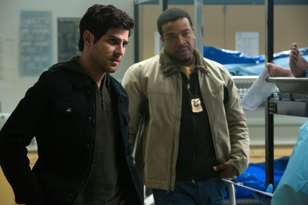 "GRIMM -- ""The Walking Dead"" Episode 221 -- Pictured: (l-r) David Giuntoli as Nick Burkhardt, Russell Hornsby as Hank Griffin -- (Photo by: Scott Green/NBC)"