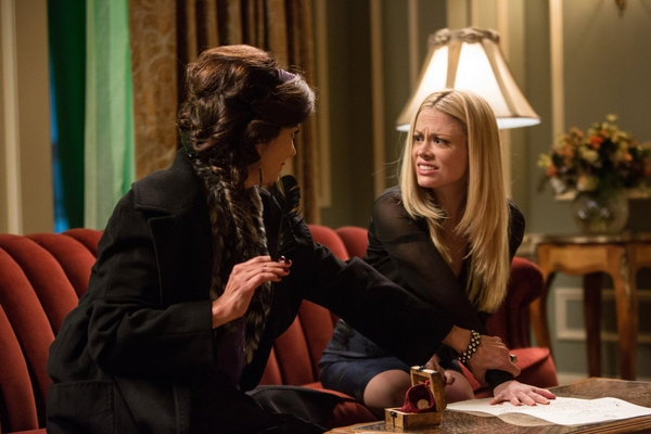 "GRIMM -- ""The Walking Dead"" Episode 221 -- Pictured: (l-r) Shohreh Aghdashloo as Stefania, Claire Coffee as Adalind Schade -- (Photo by: Scott Green/NBC)"