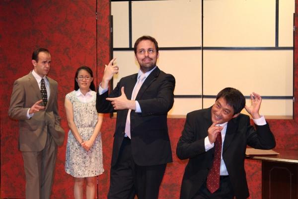 Mike Yager (Daniel Cavanaugh), Janice Pai Martindale (Miss Qian), John Dunn (Peter Timms) & Xin Jian (Cai Guoliang).