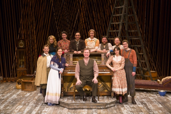 The Cast (clockwise) Claire Karpen, Noah Brody, Jennifer Mudge, Liz Hayes, Ben Steinfeld, Jessie Austrian, Paul L. Coffey, Andy Grotelueschen, Patrick Mulryan, Emily Young and Matt Castle (at the piano)