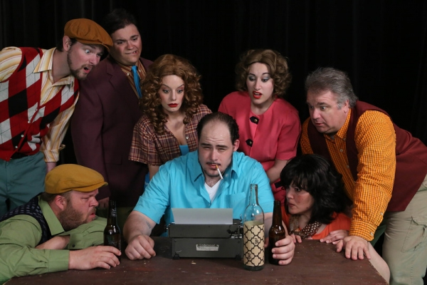 "The cast of New Line Theatre's ""Bukowsical,"" 2013. L-R, Ryan Foizey, Nicholas Kelly, Christopher Strawhun (in back), Chrissy Young, Zachary Allen Farmer (as Charles Bukowski), Marcy Wiegert, Kimi Short, Joel Hackbarth."