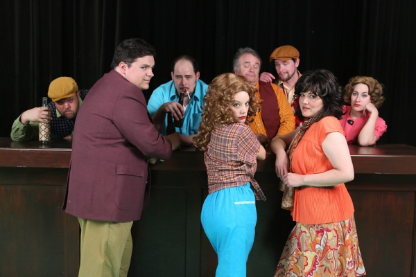"The cast of New Line Theatre's ""Bukowsical,"" 2013. L-R, Nicholas Kelly, Christopher Strawhun, Zachary Allen Farmer (as Charles Bukowski), Chrissy Young, Joel Hackbarth, Ryan Foizey, Kimi Short, Marcy Wiegert."
