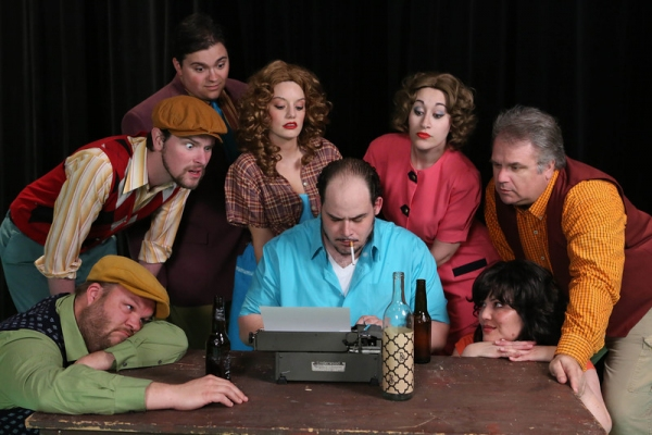 "The cast of New Line Theatre's ""Bukowsical,"" 2013. L-R, Nicholas Kelly (in front), Ryan Foizey, Christopher Strawhun (in back), Chrissy Young, Zachary Allen Farmer (as Charles Bukowski), Marcy Wiegert, Kimi Short, Joel Hackbarth."