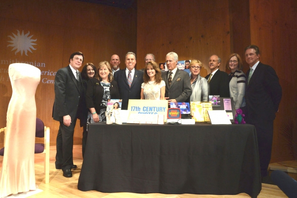 NATAS staff with Donors (Lft to Rt) David Michaels, Carolyn Grippi, Alison Gibson, Tim Egan, Malachy G. Wiegnes, Robert Martin Liebscher, Susan Lucci, Alex Trebek, Kathy Parker, Phil Parker, Barbara Williams, Les Heintz