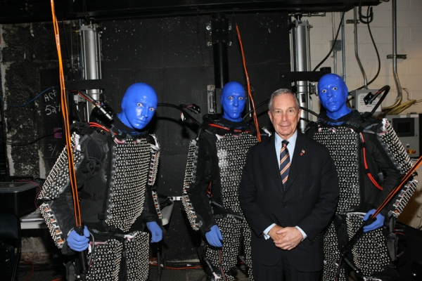 Blue Men post with Mayor Bloomberg