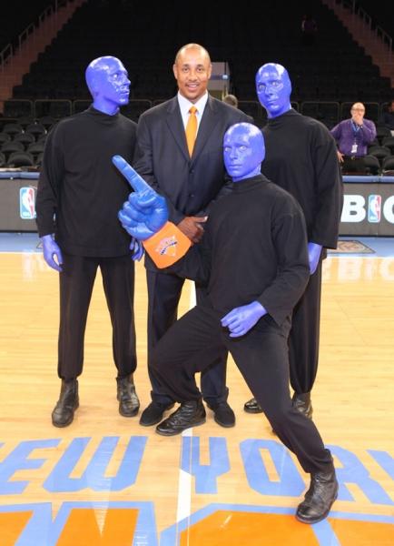 Blue Man Group with Knicks Alum John Sparks Photo