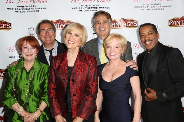 Judges for The 2nd Annual Jerry Herman Awards (from L to R): Nancy Dussault, Kenny Ortega, Karen Morrow, John Bowab & Cathy Rigby. Actor Obba Babatunde (far right) performed and presented the Award for Best Ensemble.