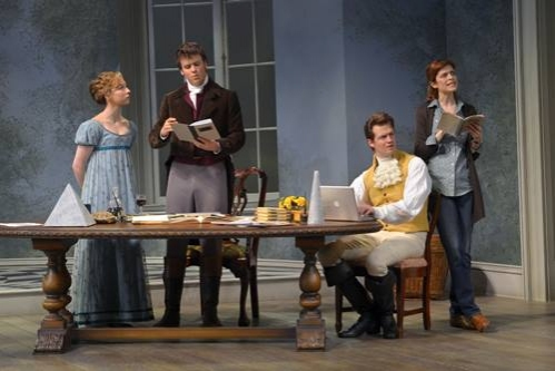 Rebekah Brockman (Thomasina Coverly), Jack Cutmore-Scott (Septimus Hodge), Adam Oâ€Byrne (Valentine Coverly) and Gretchen Egolf (Hannah Jarvis)
