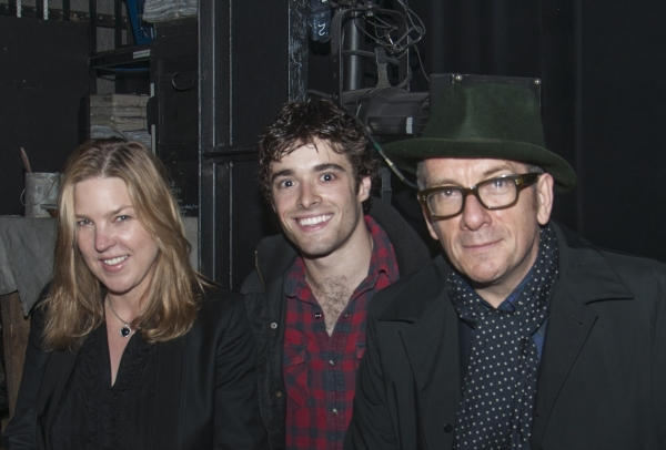Elvis Costello and Diana Krall backstage with Newsies' Corey Cott (Jack Kelly)