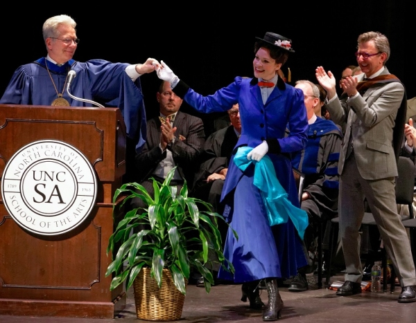 UNCSA alumna Rachel Wallace, star of Mary Poppins national and international tours, performed at the art school's high school commencement ceremony on May 18 in Winston-Salem, N.C., as a surprise planned by Chancellor John Mauceri (left). Thomas Sc