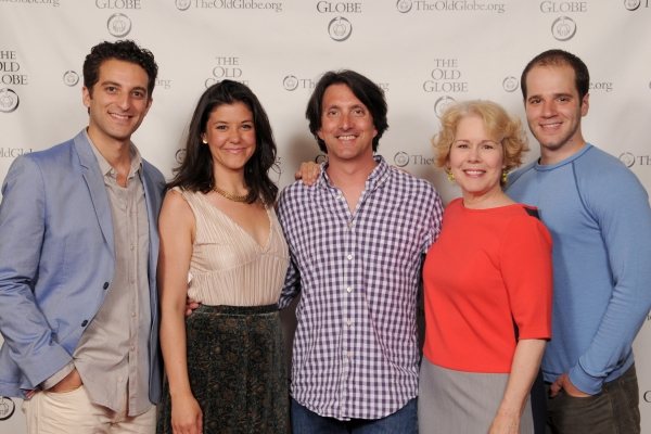 Director Hal Brooks (center) with cast members (from left) Ben Graney, Zo�'« Winters, Christine Estabrook and Kelsey Kurz at the opening night party for Be a Good Little Widow on May 16, 2013. The West Coast Premiere of Bekah Brunstetter''s Be a Good