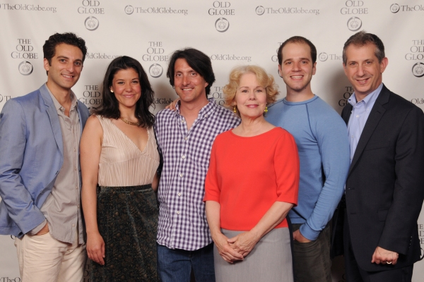 Old Globe Artistic Director Barry Edelstein (far right) with director Hal Brooks (center) and cast members (from left) Ben Graney, Zo�'« Winters, Christine Estabrook and Kelsey Kurz at the opening night party for Be a Good Little Widow on May 16, 201