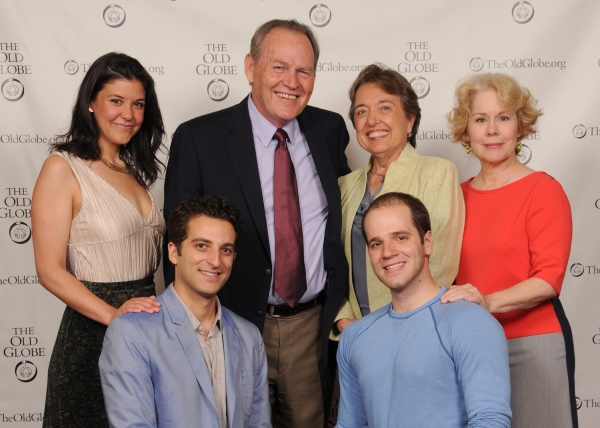 Old Globe Board Chair Harold W. Fuson Jr. and Pam Fuson (center) with cast members (from left) Zoë Winters, Ben Graney, Kelsey Kurz and Christine Estabrook at the opening night party for Be a Good Little Widow on May 16, 2013. The West Coast Premiere o