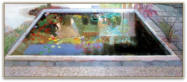 John Evans, MELODY, Oil on Canvas, 40'' x 96''
