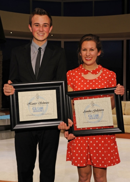 Hunter Schwartz and Annika Gullahorn, who won in the categories of Outstanding Achievement, Leading Actor and Actress in a High School Musical.
