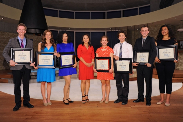 Local CBS News 8 anchor and Globe Honors emcee Marcella Lee (center) with the winners of the 2013 Globe Honors: (from left) Alexandra Adams (Technical Theatre), Samantha Littleford (Spoken Theatre), Alexis Young (Musical Theatre), Annika Gullahorn (Leadin