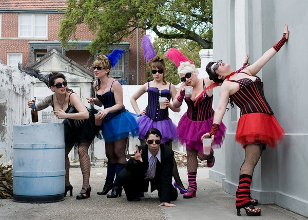 "Burlesque-parody sketch comedy troupe ""Off Off Broadzway"", (L to R) Liz McArthur, Mary Spray, Landree Fleming, Jill Valentine, Mandy Whitenack and (Center) Kelly Bolton"