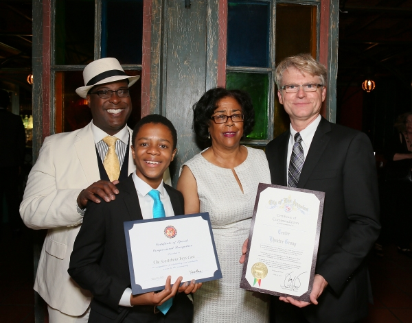 Cast members Trent Armand Kendall, Deandre Sevon, City Councilwoman Jan Perry and CTG Managing Director Edward L. Rada