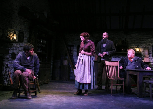 Michael A. Newcomer as Christy Mahon tells his harrowing tale to Izzie Steele as Pegeen, Patrick Toon as Philly Cullen and Michael Daly as Jimmy Farrell.