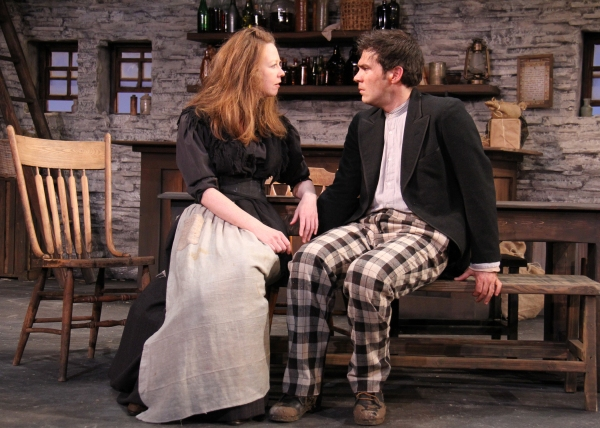 Emma O'Donnell plays Widow Quinn who comforts Christy Mahon, the newly arrived visitor to the public-house played by Michael A. Newcomer.