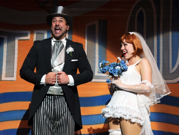 Joey Fatone as Bert Barry and Mara Newbery as Anytime Annie Photo