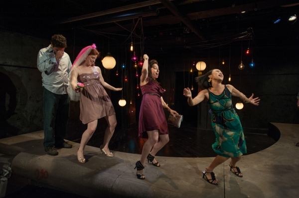 Frank (Brian King), Marnie (Darci Nalepa), Melissa (Audrey Francis) and Linda (Emjoy Gavino) in The Drunken City