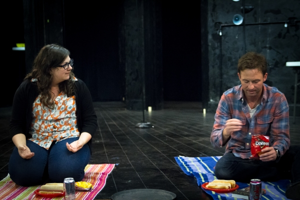 Anne Joy and Josh Bywater in rehearsal for Fat Pig